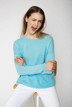 The Pocket Cashmere Sweater in Pool Blue Uk Size 16, Cashmere Sweaters, Bell Sleeve Top, Ruffle Blouse, Pocket, Summer, Model, How To Wear, Blue