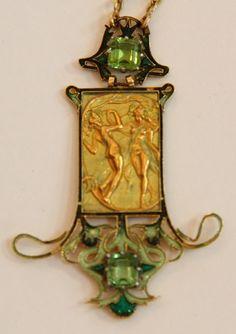 A very rare Art Nouveau pendant 'Les Danseuses' by René Lalique, composed of gold, tourmaline and enamel, circa 1900.