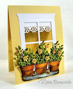 window card by Kittie Caracciolo.... click through to her blog post... it shows how she finishes the window on the inside of card