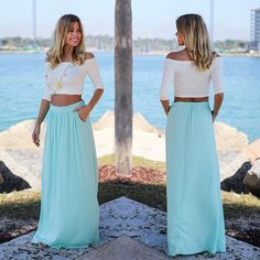 We are loving the color on this maxi skirt! Such a pretty and perfect color for Spring. Shop at savedbythedress.com