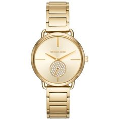 Women's Michael Michael Kors Portia Round Bracelet Watch, 36.5Mm (¥25,350) ❤ liked on Polyvore featuring jewelry, watches, gold, gold wristwatches, gold jewelry, gold dial watches, gold wrist watch and michael kors watches