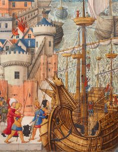 Medieval Manuscript, Medieval Art, Illuminated Letters, Illuminated Manuscript, Louis Xii, Bnf, Wooden Boats, 15th Century, Fishing Boats