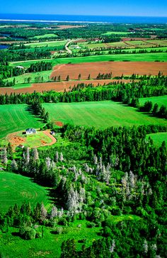 PEI has always been on my bucket list of places I want to visit :-) Aerial view, Northern coastline, Prince Edward Island, Canada