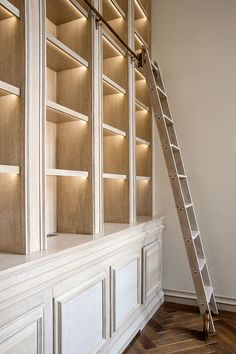 Library ladder, custom library shelving w/ cupboards and lighting. Rupert Bevan - Commissions - Limed Oak Library