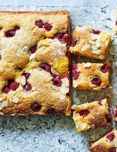 Raspberry Custard Cake Recipe Check out this easy traybake recipe with sweet and juicy raspberries and creamy custard a perfect teatime treat. Long-life custard is a bit more stable and usually thicker than fresh so it's good for baking into cakes Tray Bake Recipes, Baking Recipes, Dessert Recipes, Desserts, Easy Sponge Cake Recipe, Sponge Cake Recipes, Raspberry Cake, Fresh Raspberry Recipes, Custard Cake