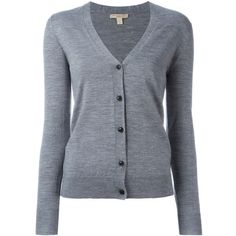 Burberry Buttoned Cardigan (214.890 CLP) ❤ liked on Polyvore featuring tops, cardigans, gray top, burberry cardigan, grey cardigan, button cardigan and burberry