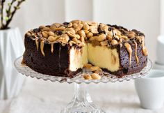 Chocolate cheescake with Salt caramel Chocolate Cheescake, Finnish Recipes, Pastry Cake, Piece Of Cakes, Sweet Cakes, Sweet And Salty, Something Sweet, Desert Recipes, Yummy Cakes