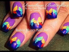 Rainbow Butterfly Nails | Easy Lavender & Purple Nail Art Design Tutorial - YouTube
