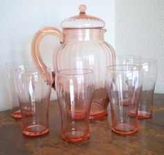 Vintage Pink Depression Glass Pitcher With Lid and 6 matching tumbler / glasses. Beautiful, delicate set.
