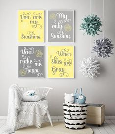 Yellow Gray You Are My Sunshine Wall Art, Canvas or Print Baby Nursery Decor for Girl My Sunshine Nursery Quote, rose flower, Set of 4 Nursery Canvas, Nursery Wall Art, Woodland Nursery Decor, Baby Nursery Decor, Canvas Frame, Canvas Wall Art, Shower Curtains Walmart, Tropical Bedrooms, Nursery Quotes