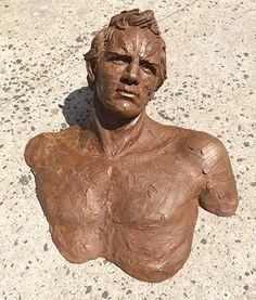 """Matteo Pugliese, Enea, 2012, Bronze, 63"""" x 39¾"""" x 13¾"""" #art #sculpture #bronze #contemporary #male #figure #bust"""