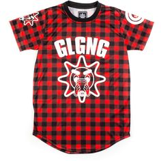 Glo Cup Plaid Tee ($55) ❤ liked on Polyvore featuring tops, t-shirts, items, tees, red top, plaid top, red tee, red t shirt and polyester t shirts