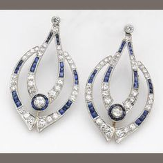 A pair of sapphire, diamond and platinum earrings