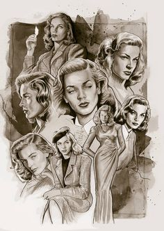 "Lauren Bacall in the book ""Women of Hollywood"" by Nacho Castro Lauren Bacall, Steven Seagal, Celebrity Caricatures, Celebrity Drawings, Jet Li, Jackie Chan, Denis Zilber, Bogie And Bacall, Cinema Tv"