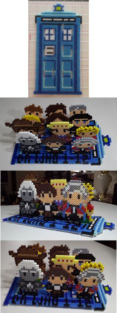 3D Dr Who Doctor display perler beads by Joanne Schiavoni