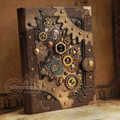 Christmas gift for dad, husband, Science art gift for men Adventure book Steampunk blank journal Ste Arte Steampunk, Steampunk Book, Steampunk Fashion, Blank Journal, Journal Covers, Journal Notebook, Journals, Journal Diary, Science Gifts