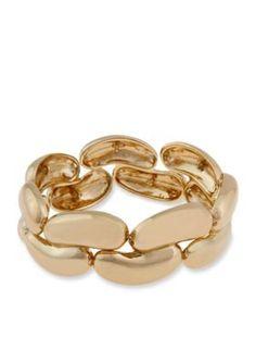 Erica Lyons  Gold-Tone Metal Two Row Stretch Bracelet