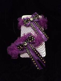 #Purple and Black #ABCrystal #ThighHigh #FishnetStockings. #Burlesque #Costume #EmpireMiniTopHats #Stockings