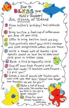 BLESS THE TEACHER - these ideas are adorable and doable!