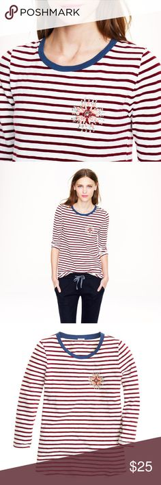 """J. Crew Striped Painters Tee with Jeweled Broach J. Crew striped painters tee with Jeweled broach. Red and white stripes with blue collar. 100% cotton. Size small. 16.5"""" bust 22-23"""" length. Has a couple ver faint spots on front and one sleeve. Too light to capture on camera and you can only see if you are really searching for it.  •I don't swap/trade •I don't do holds  •I rarely model due to the fact that I don't fit all items.  •I price with shipping in mind  •I am open to reasonable…"""