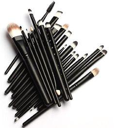 MELADY20pcs Multifunction Pro Cosmetic Powder Foundation Eyeshadow Eyeliner Lip Makeup Brushes Sets Black *** See this great image  : Makeup Brushes