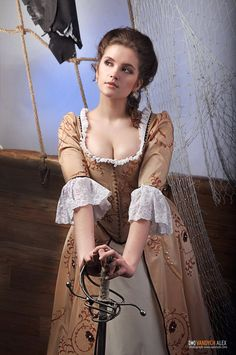 """Pensiveness by Lilith-Sahl.deviantart.com on @deviantART - A cosplay of Elizabeth Swann from Disney's """"Pirates of the Caribbean: The Curse of the Black Pearl"""". This can also work as a semi-accurate (minus the pirate flourishes) 18th century recreation."""
