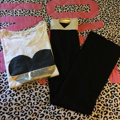 VS YOGA LEGGINGS SET LIKE NEW WORN AND WASHED HUNG DRY ONE TIME NO RIPS STAINS OR PILING. TOP IS A MEDIUM And BOOTCUT YOGA LEGGINGS ARE A SMALL PINK Victoria's Secret Pants Leggings