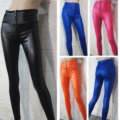 22565b9b394 Hot Women High Waist Stretch Skinny Shiny Spandex Leggings Pants Slim Fit  Tights