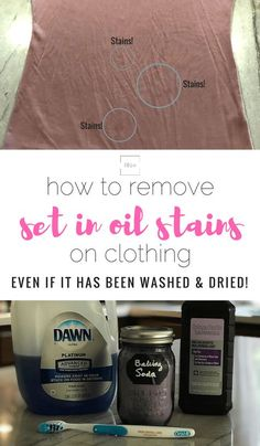How to Remove Set in Oil Stains on Clothing Even if it has been washed and dried. How to Remove Set in Oil Stains on Clothing Even if it has been washed and dried Deep Cleaning Tips, House Cleaning Tips, Cleaning Solutions, Spring Cleaning, Cleaning Hacks, Diy Hacks, Cleaning Products, Cleaning Room, Cleaning Items