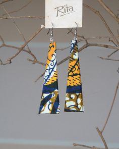 African Wax Print Fabric Long Earrings by RitaVanTassel on Etsy ~African fashion, Ankara, kitenge, African women dresses, African prints, Braids, Nigerian wedding, Ghanaian fashion, African wedding ~DKK