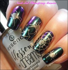 Nail Art Stamping Mania: How to Stamp with Mirror Pigment and UberChic Beauty Halloween 01 plate - Tutorial