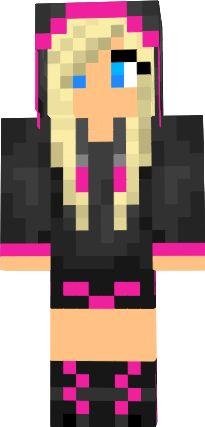 Minecraft Skins Girl Blonde | Blonde Girl Pink and Black Hoodie
