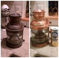Bar Keepers Friend on a brass/copper ship lantern.