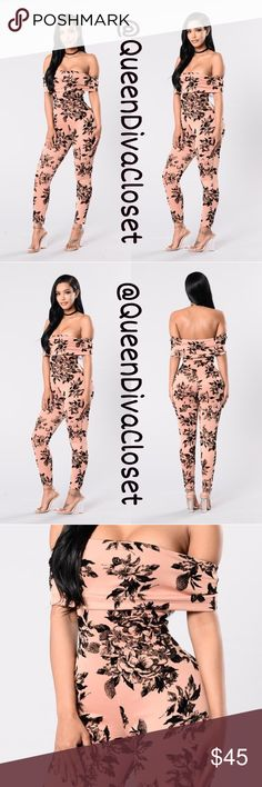 Mauve dusty rose pink off shoulder jumpsuit romper Show off your romantic side in this Fabulous fun and flirty jumpsuit. Features black velvet floral/ flower print decor over a salmon pink/ nude stretch scuba material, fold over ruffle short sleeve off shoulder design. Brand new. Marked size L will fit up to a 12. 🚫Firm price/ no offers🚫 Pants Jumpsuits & Rompers