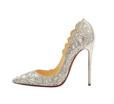 30 Metallic, Neutral and White Wedding Shoes / Christian Louboutin Top Vague Heels / For more wedding shoe inspiration: http://www.flare.com/weddings/30-metallic-neutral-white-wedding-shoes/