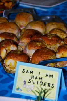 Dr Seuss Food Ideas: Sam I Am Ham Sliders...these were delicious! I got the idea from http://annies-eats.com/. Great recipe!