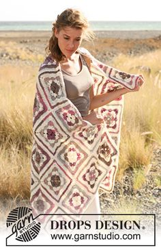 "DROPS 130-42 by DROPS Design ""Grandma's squares and beautiful nostalgia!"" Crochet DROPS blanket in ""Fabel""."