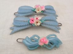 vintage set of 3 Baby blue hair bow barrette