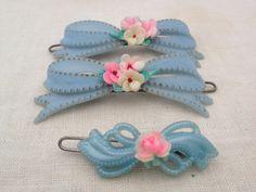 vintage set of 3 Baby blue hair bow barrette