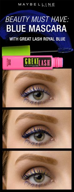 The newest spring makeup trend is blue lashes!  Get the perfect bright blue lash look using the Great Lash Royal Blue mascara!  It compliments all eye colors and can be paired with all eyeliner looks as a colorful pop.