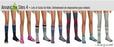 Around the Sims 4 | cas accessory socks for male & female child - base game recolor & new mesh