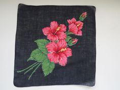 Vintage HIBISCUS Hanky Hankie Handkerchief  Flowers Hawaii State Flower Red Navy #Unbranded #Floral