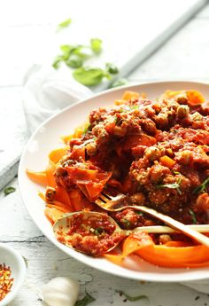 10-ingredient Chickpea Bolognese with Carrot Noodles from Minimalist Baker