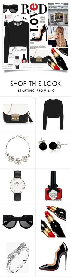 """Mad about Red"" by laurettered ❤ liked on Polyvore featuring Furla, Proenza Schouler, The Limited, Bling Jewelry, Daniel Wellington, Ciaté, Christian Louboutin, Pandora and Anja"