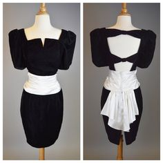 The Owner of a Lonely Heart - 80s Retro Black Velvet Prom Cocktail Party Dress Vintage Womens Size Small
