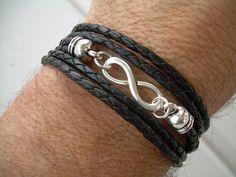 Black Braided Leather Bracelet, Infinity Bracelet, Toggle Closure, Triple Wrap Black Braid. $24.99, via Etsy.