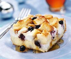 Blueberry Surprise French Toast Casserole:  I used a loaf of dried out french bread, added cinnamon and would add vanilla to the egg/milk mixture.  I also only did 1 brick cream cheese and used whole milk and half and half.