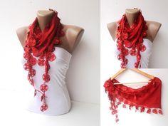 scarf  women fashion scarves  Cotton scarf red