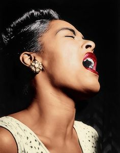 LADY SINGS THE BLUES (BILLIE HOLIDAY) Colorized image from an original black & white portrait first published in Down Beat magazine, February 1947 Follow us on Tumblr  Pinterest  Facebook  Twitter