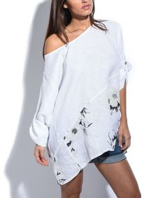 White Floral Oversize Linen Tunic - Plus Too
